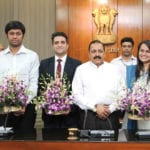 The toppers of Civil Services Examination, 2015, Tina Dabi, Athar Aamir Ul Shafi Khan and Jasmeet Singh Sandhu calling on the Minister of State for Development of North Eastern Region (I/C), Prime Minister's Office, Personnel, Public Grievances & Pensions, Department of Atomic Energy, Department of Space, Dr. Jitendra Singh, in New Delhi on May 11, 2016. The Secretary, DoPT, Shri Sanjay Kothari is also seen.