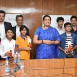 The Union Minister for Human Resource Development, Smt. Smriti Irani felicitated the winners of the Google India's 'Code to Learn' 2015 competition under Rashtriya Avishkar Abhiyan, in New Delhi on May 11, 2016.