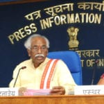 The Minister of State for Labour and Employment (Independent Charge), Shri Bandaru Dattatreya interacting with the media on two year achievements, in New Delhi on May 24, 2016. The Secretary, Ministry of Labour and Employment, Shri Shankar Aggarwal is also seen.