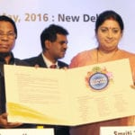 The Union Minister for Human Resource Development, Smt. Smriti Irani releasing the brochure at the National Conference on Reforming & Rejuvenating Indian Higher Education A Stakeholders Perspective, in New Delhi on May 18, 2016.