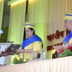 The Union Minister for Human Resource Development, Smt. Smriti Irani presenting the best Girl Student medal to Kumari Madhura Dutta-Gupta at the 4th Convocation of the Indian Institute of Science Education & Research (IISER), Kolkata, at IISER, Mohanpur, Nadia, in West Bengal on June 28, 2016. The Governor of West Bengal, Shri Keshari Nath Tripathi is also seen.