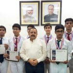 """The Minister of State for Development of North Eastern Region (I/C), Youth Affairs and Sports (I/C), Prime Minister's Office, Personnel, Public Grievances & Pensions, Atomic Energy and Space, Dr. Jitendra Singh  with the team of the Indian students selected for NASA, USA """"International Space Competition"""", in New Delhi on June 29, 2016."""