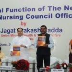 The Union Minister for Health & Family Welfare, Shri J.P. Nadda releasing the new syllabus viz, nurse practitioner in critical care nursing  at the inauguration of the New Indian Nursing Council Office, in New Delhi on June 27, 2016.