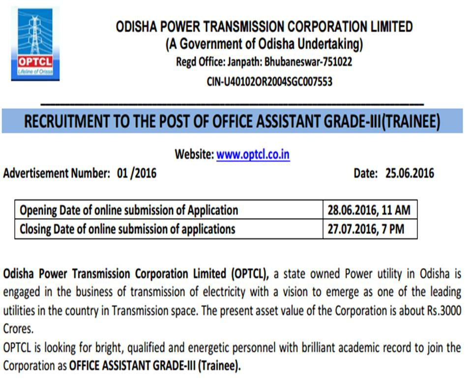 Odisha Based Optcl Invites Applications To Fill Up 100 Posts Under