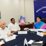 The Union Minister for Human Resource Development, Smt. Smriti Irani addressing at the digitally launch of the projects under the Rashtriya Uchchatar Shiksha Abhiyan (RUSA), in New Delhi on June 03, 2016. The Minister of State for Human Resource Development, Prof. (Dr.) Ram Shankar Katheria and the Secretary, Department of Higher Education, Shri V.S. Oberoi are also seen.