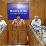 The Union Minister for Human Resource Development, Smt. Smriti Irani holding the press briefing on issues of University Grants Commission (UGC), in New Delhi on June 22, 2016. 	The Secretary, Department of Higher Education, Shri V.S. Oberoi and the Chairman, UGC, Prof. Ved Prakash are also seen.
