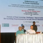The Vice President, Shri M. Hamid Ansari addressing the gathering after inaugurating a Conference on Factors of Poor learning: Challenges, Opportunities and Practices for Learning Improvement in Socially Diverse Elementary Schools of India, in New Delhi on September 02, 2016. The Secretary, School Education and Literacy, Dr. Subash Chandra Khuntia and other dignitaries are also seen.