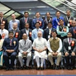 The Prime Minister, Shri Narendra Modi with the Awardee Scientists at the CSIR Platinum Jubilee Celebrations, in New Delhi on September 26, 2016. The Union Minister for Science & Technology and Earth Sciences, Dr. Harsh Vardhan and the Minister of State for Science & Technology and Earth Sciences, Shri Y.S. Chowdary are also seen.