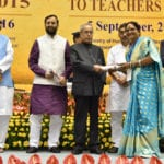 The President, Shri Pranab Mukherjee presenting the National Award for Teachers-2015 to Smt. Subha Devi Shukla (Uttar Pradesh), on the occasion of the 'Teachers Day', in New Delhi on September 05, 2016.  The Union Minister for Human Resource Development, Shri Prakash Javadekar, the Ministers of State for Human Resource Development, Shri Upendra Kushwaha & Dr. Mahendra Nath Pandey and the Secretary, School Education and Literacy, Dr. Subash Chandra Khuntia are also seen.