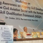 The Minister of State for Civil Aviation, Shri Jayant Sinha addressing at the inauguration of a workshop on Building Awareness on Aligning Skill Development in the Civil Aviation Sector with the National Skill Qualification Framework, in New Delhi on October 20, 2016.  	The Minister of State for Skill Development & Entrepreneurship (Independent Charge) and Parliamentary Affairs, Shri Rajiv Pratap Rudy, the Secretary, Ministry of Civil Aviation, Shri R.N. Choubey and other dignitaries are also seen.