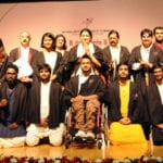 The Union Minister for Textiles, Smt. Smriti Irani in a group photograph at the convocation ceremony of the National Institute of Fashion Technology (NIFT), in New Delhi on October 04, 2016. The Chairman, Board of Governors - NIFT, Shri Chetan Chauhan is also seen.