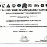 Dr Richa Chaudhary, faculty member of IIT Patna, honoured the best research paper award at PAN IIM World Management Conference 2016