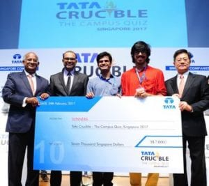 Defending champions Rohan Naidu and Shivam Bhardwaj of National University of Singapore (NUS) overcame a stiff competition from Arvind Ramesh and Anshuman Anand of Nanyang Technological University (NTU) to win the coveted champion title and trophy at Tata Crucible Campus Quiz Singapore 2017 held on Thursday, February 9, 2017 at Shaw Foundation Alumni House, National University of Singapore