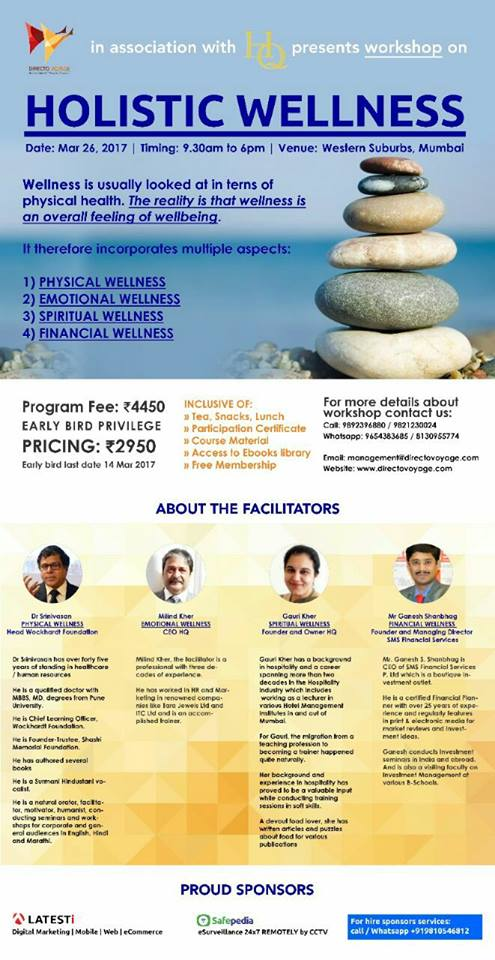 Holistic Wellness workshop in Mumbai on 26 March 2017