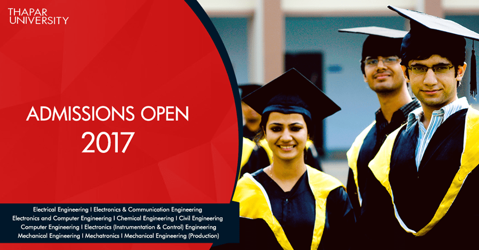PhD Admission open for July 2017 session at Thapar University