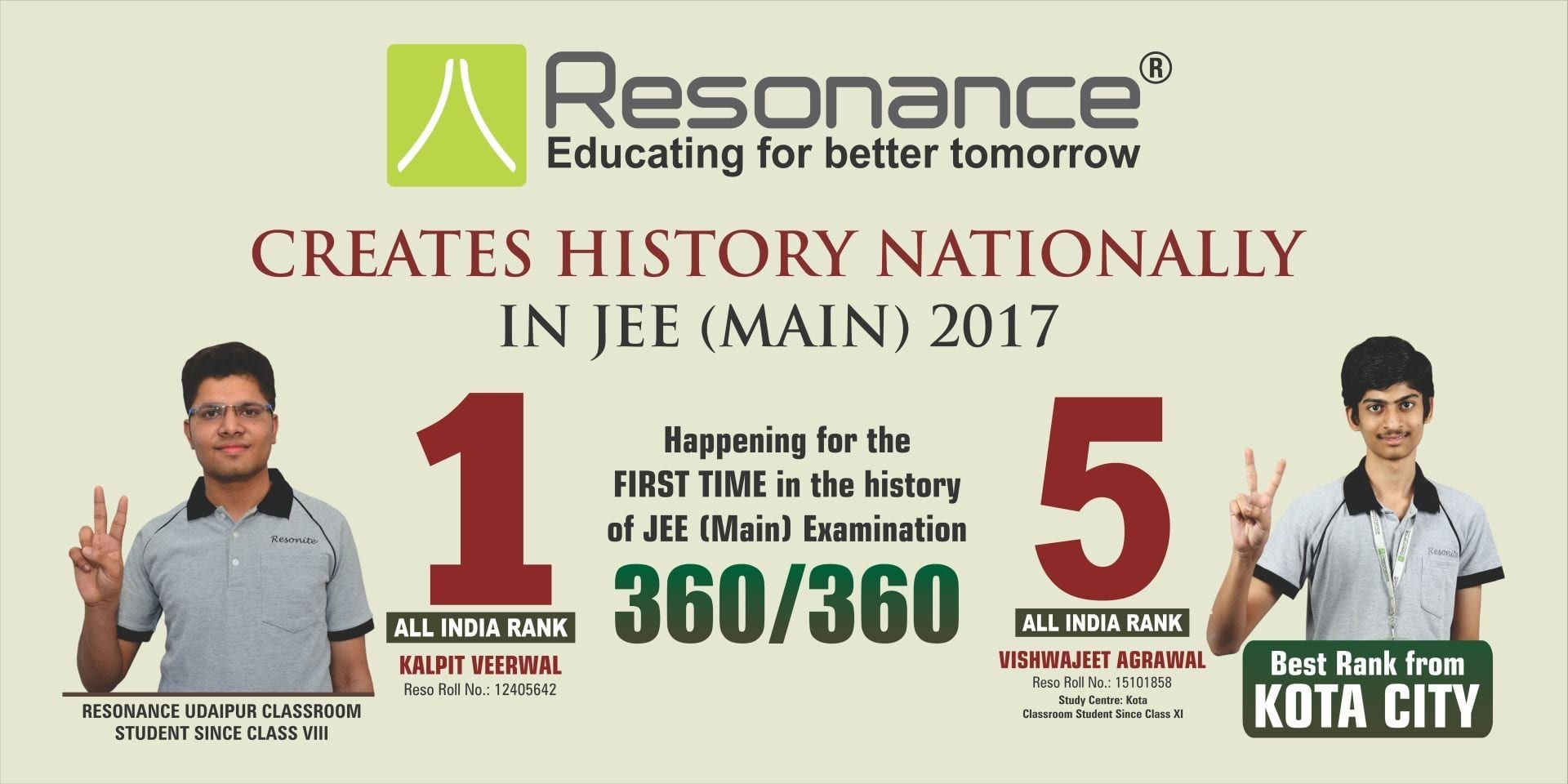 Resonance strikes a big in the JEE Main 2017 results