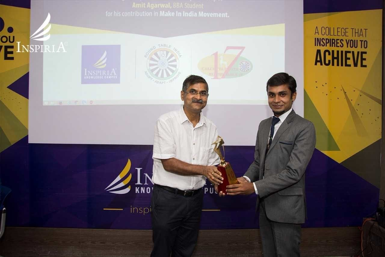 India's Ministry of Skill Development and Entrepreneurship selects Inspiria Student Amit Agarwal as Top Ten Young Indian Entrepreneurs