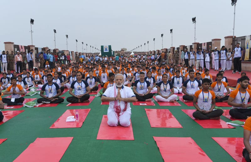 PM inaugurates Mass Yoga Demonstration at Lucknow, on the occasion of International Day of Yoga