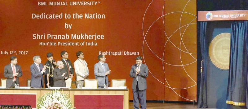 President of India dedicates BML Munjal University to the Nation