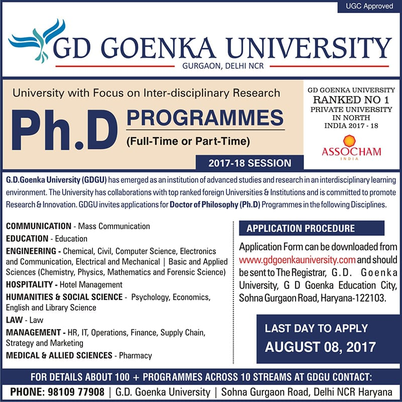 Admission open for PhD programmes in GD Goenka University, Gurgaon for July 2017 session