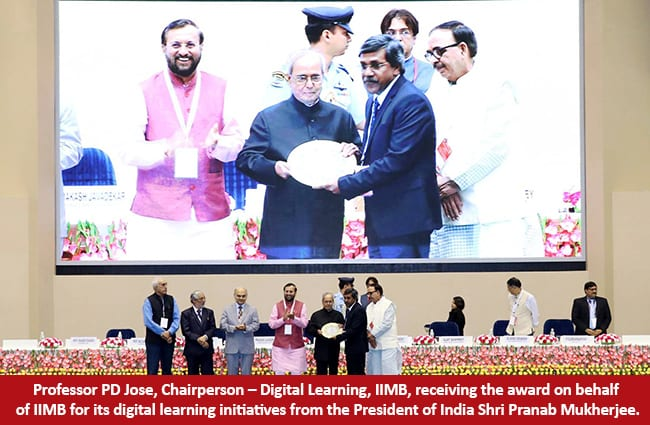 IIM Bangalore honored with award for MOOCs by President during the launch of the SWAYAM platform