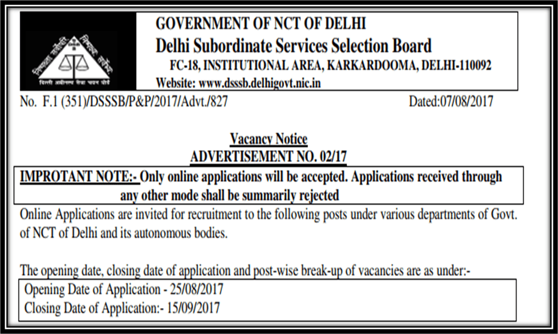 Delhi Subordinate Services Selection Board on massive recruitment drive; More than 15,500 vacant posts including more than 15,000 teacher posts