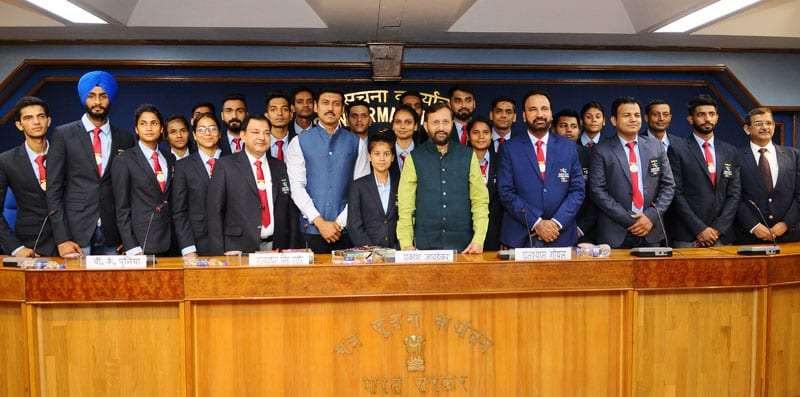 Prakash Javadekar interacts with Indian University team of Badminton and Taekwondo before World University Games