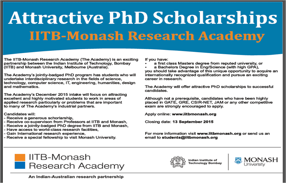 PhD admission open in IIT Bombay- Monash Research Academy, Scholarships available