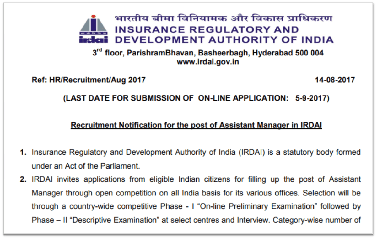 Insurance Regulatory and Development Authority of India (IRDAI) hiring 30 Assistant Manager posts