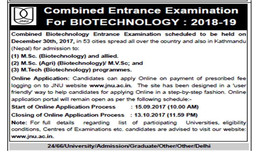 JNU announces schedule and admission process for Combined Entrance Examination for BioTechnology (CEEB) 2018-19