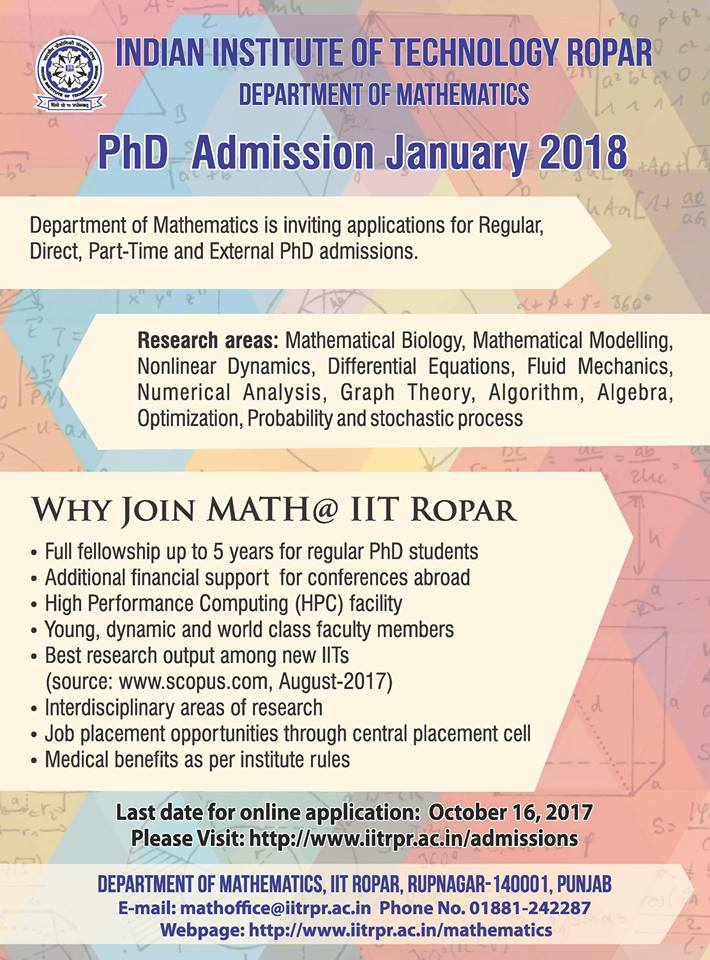 Admission open for PhD programmes 2017-18 Semester – II in IIT Ropar