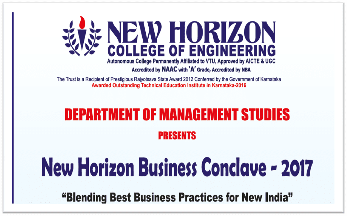 New Horizon College of Engineering, Bangalore presents Business Conclave on 15 Sept 2017