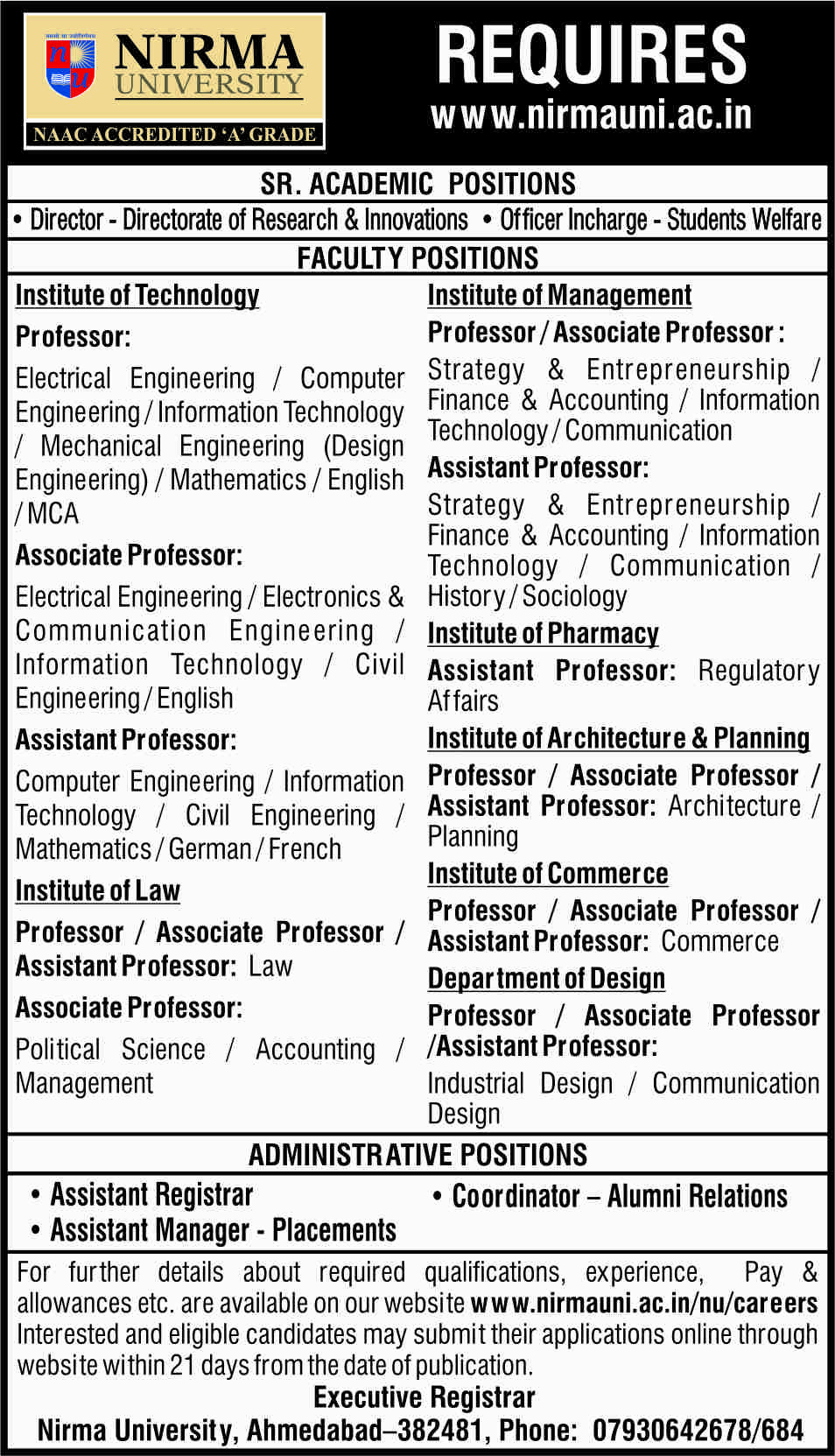 Nirma University hiring faculty posts for its various departments