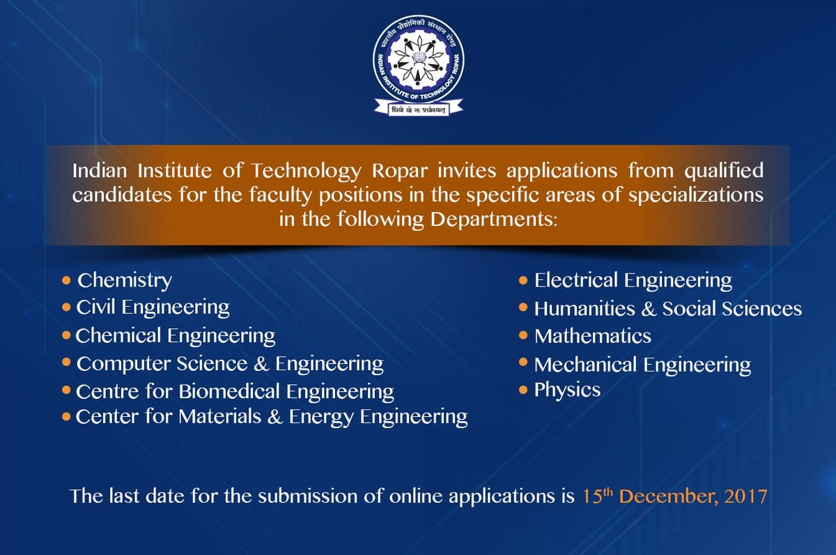 IIT Ropar recruiting faculty posts for various departments; Apply before 15 Dec 2017