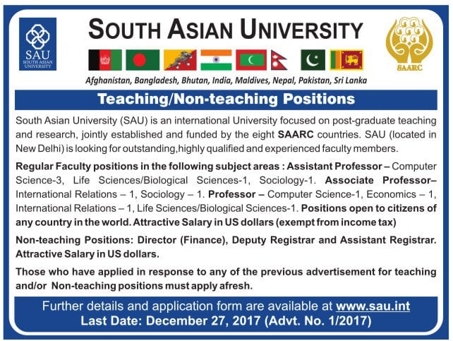 South Asia University, New Delhi recruiting faculty posts! Apply before 27 Dec 2017