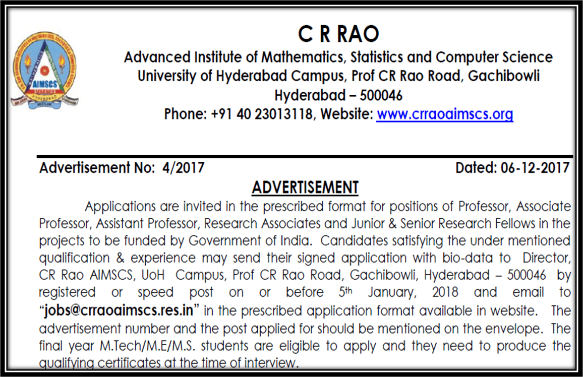 CR Rao Advanced Institute of Mathematics, Statistics and Computer Science, Hyderabad hiring Faculty posts, RA, JRF and Project Assistants