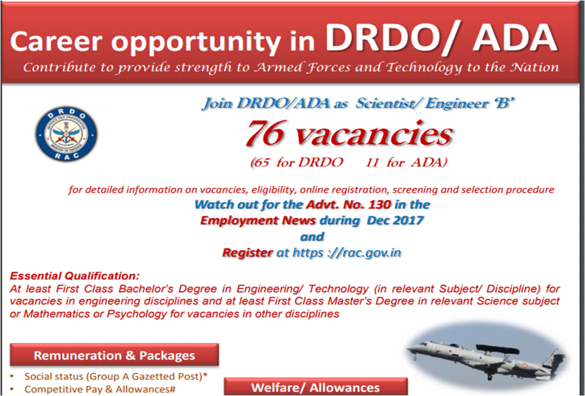 DRDO and Aeronautical Development Agency invite applications for 76 Scientist B posts