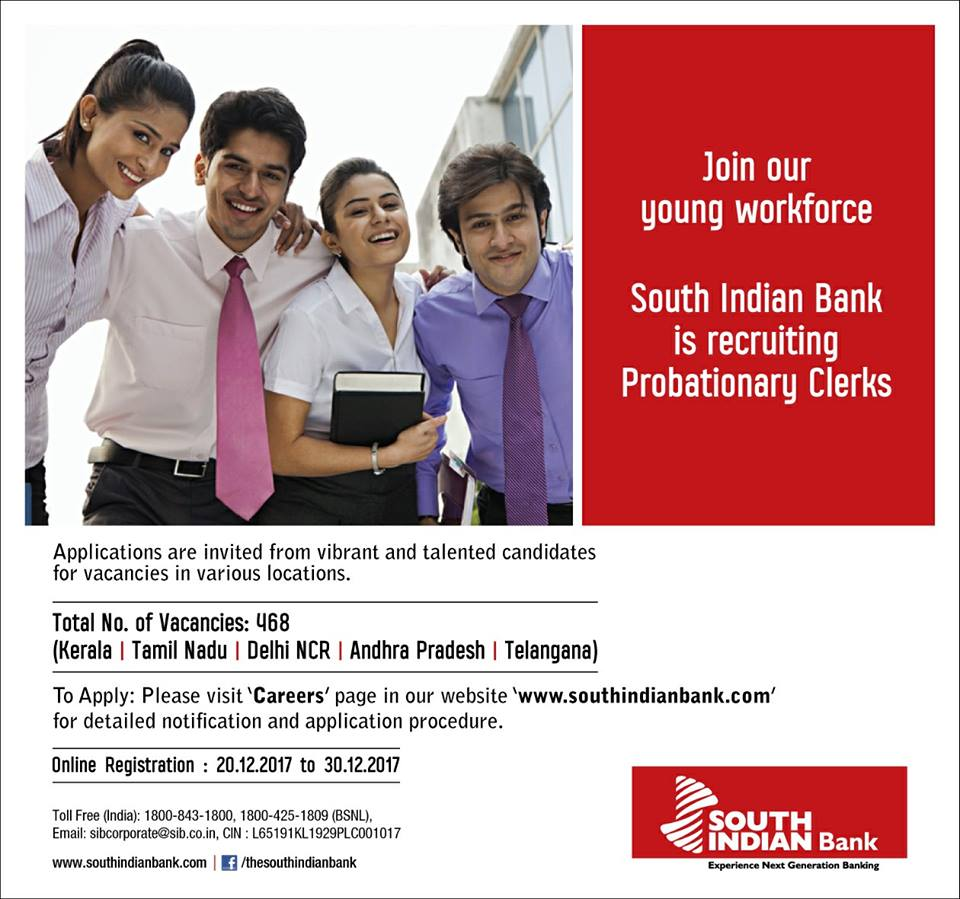 South Indian Bank hiring 468 Probationary Clerks ! Apply now