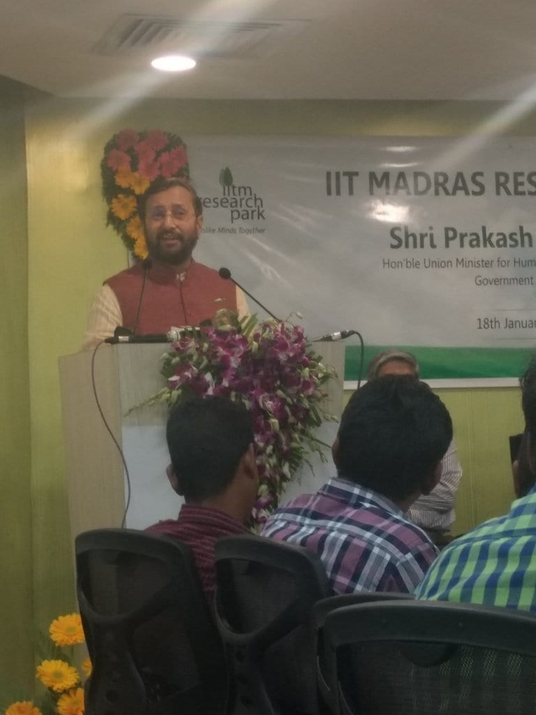HRD Minister Prakash Javadekar inaugurates new facilities at IIT Madras Research Park today