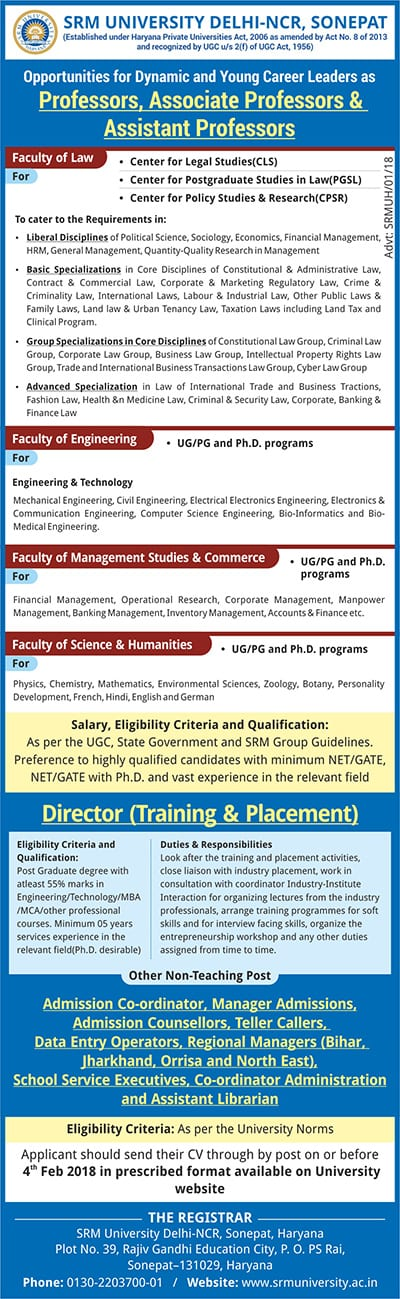 SRM University Delhi-NCR hiring faculty posts ! Apply now