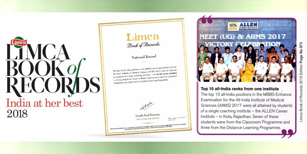 Kota Institute makes it Into the Limca Book of Records