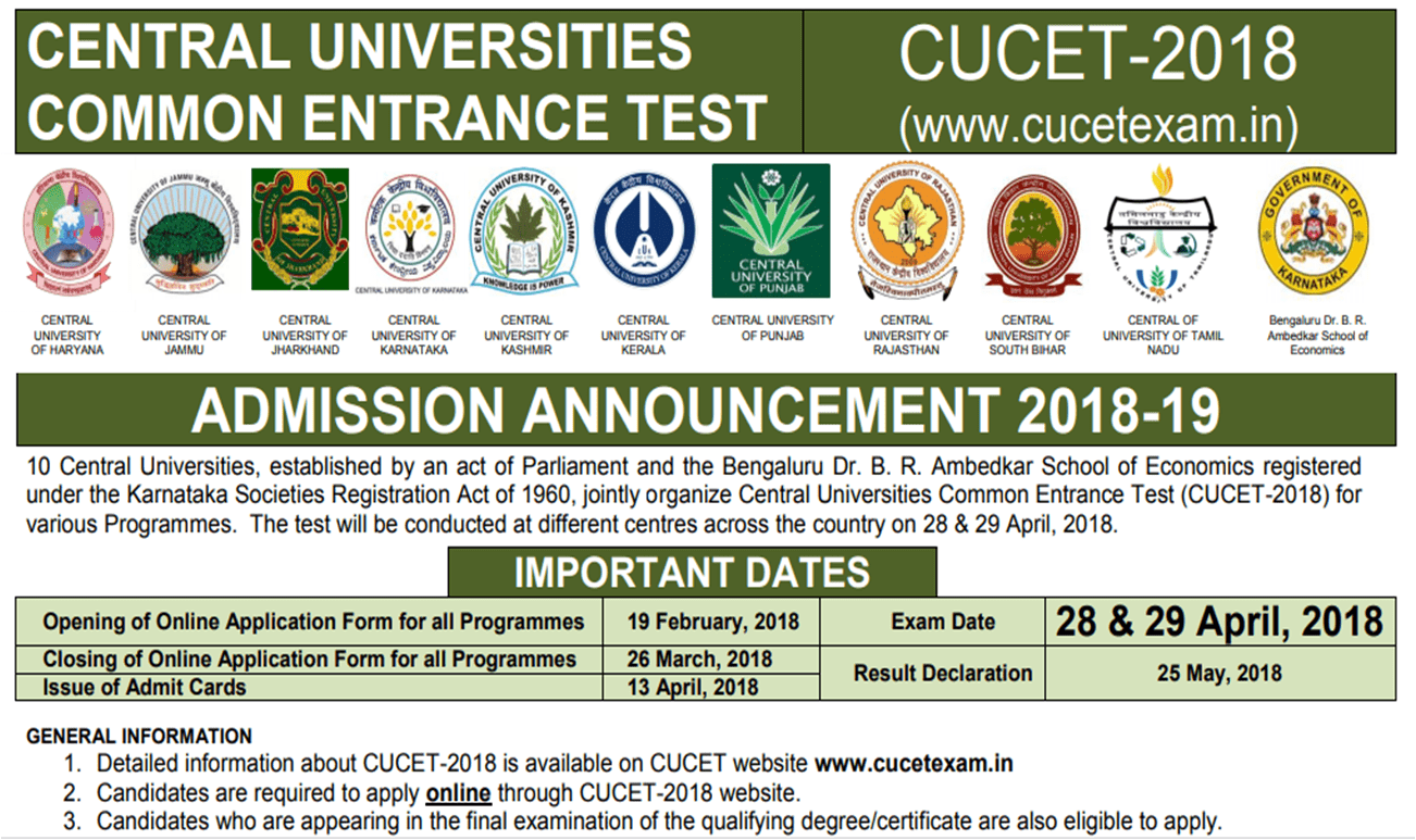 Central Universities Common Entrance Test (CUCET) 2018 notification out ! Application window opens from 19 Feb 2018