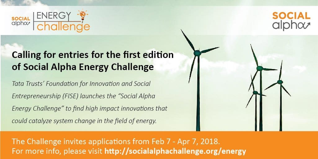 Tata Trusts launches the first nationwide hunt for Innovators and Entrepreneurs, invites entries for Social Alpha Energy Challenge