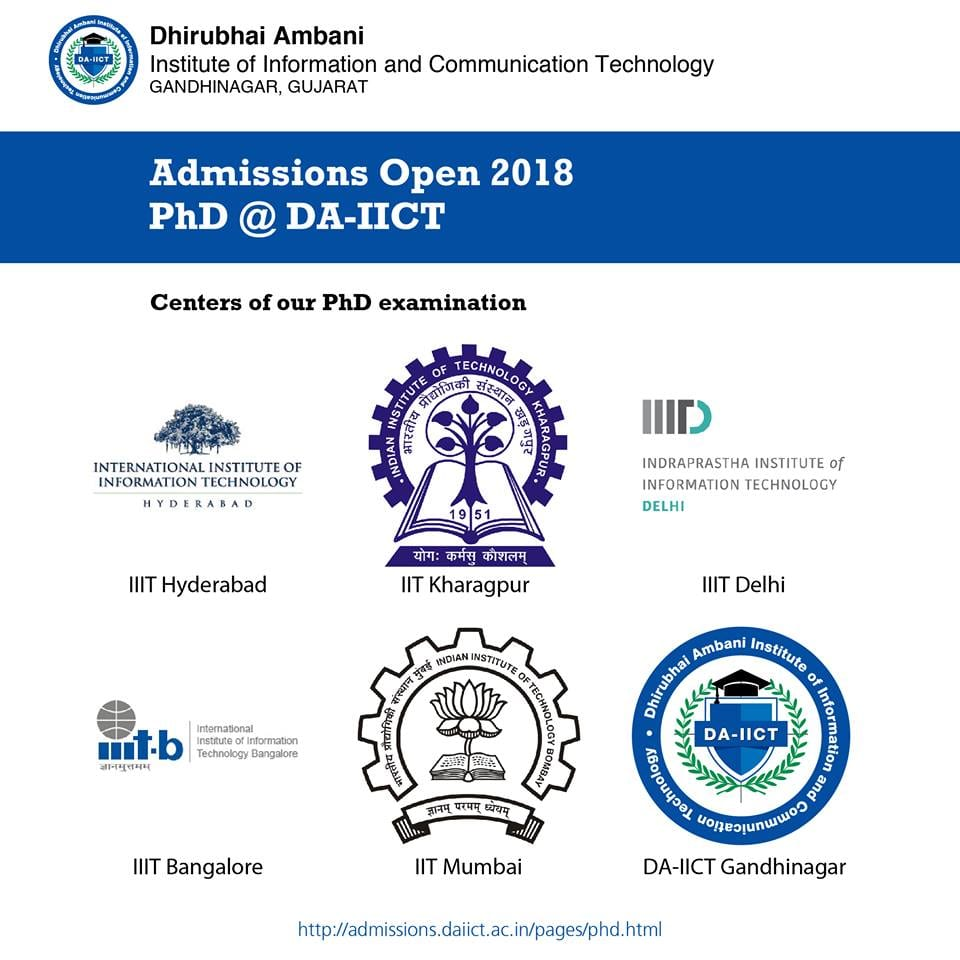 PhD Admission open for 2018-19 session in Dhirubhai Ambani Institute of Information and Communication Technology, Gandhinagar