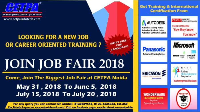 Looking for a New Job or Career Oriented Training, Attend Job Fair By CETPA!
