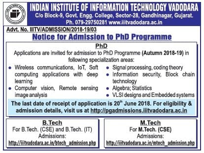PhD Admission open in IIIT Vadodara ! Apply now