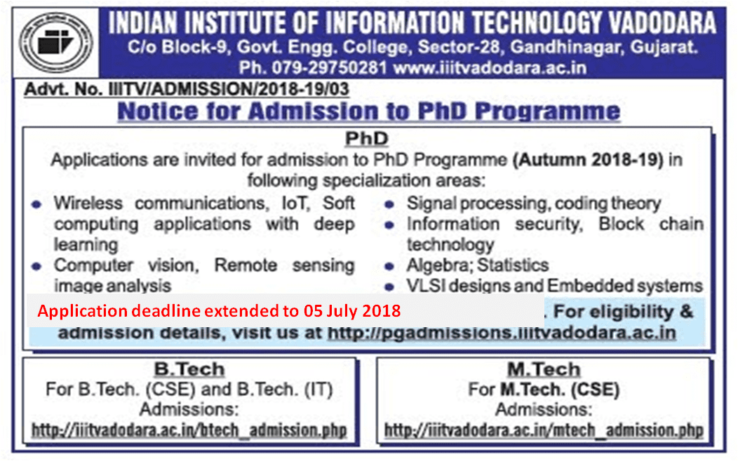 IIIT Vadodara: Application window for PhD Programme Autumn 2018-2019 extended to 05 July 2018