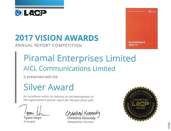 Piramal Enterprises Annual Report FY2017 Receives Global Recognition; 2nd Best From India & Featured Among Top 50 in Asia-Pacific Region at the League of American Communications Professional Awards