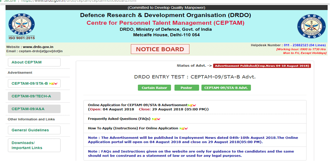 Defence Research & Development Organization (DRDO) recruiting 494 Senior Technical Assistant-B posts