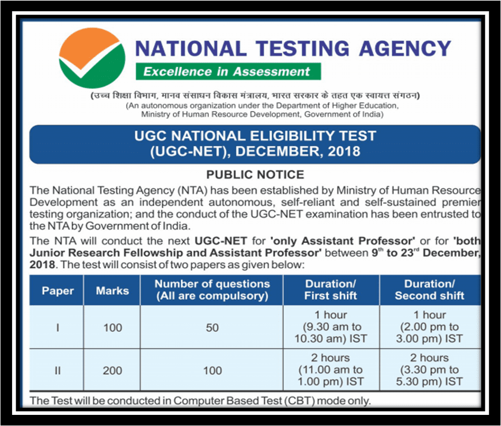 National Testing Agency releases notification to conduct UGC- NET in December 2018